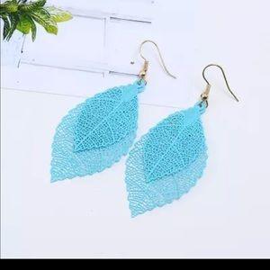 Bohemian Double Leaf Drop Earrings
